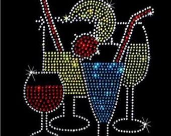 Wine Drink Rhinestone Iron on Transfer 0406564