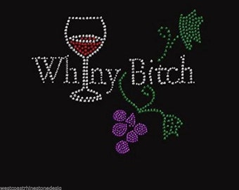 Wine Drink Rhinestone Iron on Transfer SM5J