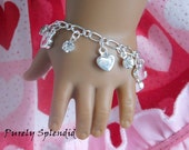 Heart Charm Bracelet for 18 inch girl dolls, Valentine arm candy, dainty accessory, holiday love jewelry, stocking stuffer, American made