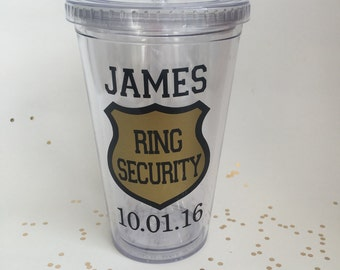 Ring Bearer Gift, Gift for Ring Bearer, Ring Security Cup, Ring Bearer Cup, Gift idea for Ring Bearer, Bridal Party Gift, Ring Security