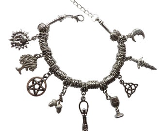 Dunns-jewels Pagan/Wiccan 9 Charm Bracelet