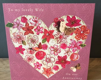 Wife Anniversary-Greeting Card- handfinished
