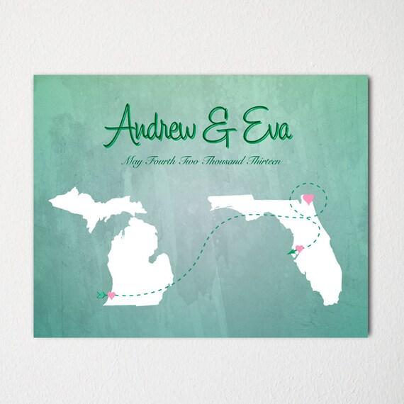 Art Print Wedding Gift : Wedding Map Art Print / Modern Art / Wedding Gift / Engagement Gift ...