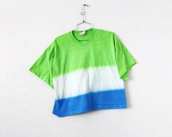 SMALL/MEDIUM Vintage 1990s Xhilaration Tie-Dye Neon Green and Blue Midriff Crop Top