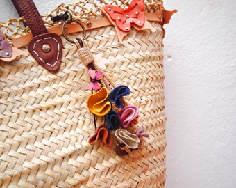 Jute and leather keychain