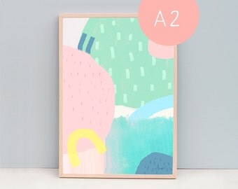 A2 Art Print, Abstract 100 Spring