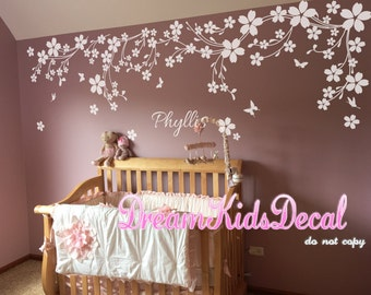 Flower floral decals Name wall decals cherry blossoms wall sticker wedding office-White vines with Butterfly decals-DK114