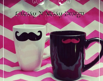 His and hers ceramic mustache mugs