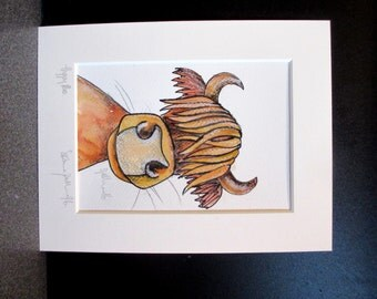 Hippy Moo. An Original watercolour and ink painting by Suzanne Patterson.