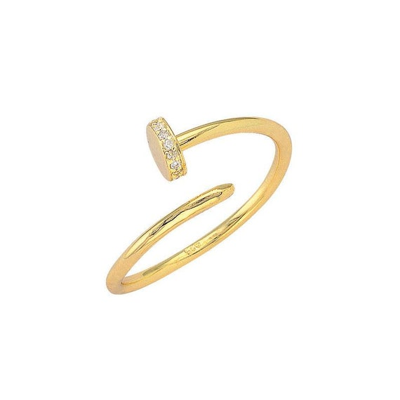 Nail ring sterling silver gold plated with zircon, nail fashion ring, christmas gift