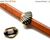 On Sale NOW 25%OFF TWO Shell Spacer Beads for 10x6mm Licorice Leather Antique Gold Z072-2