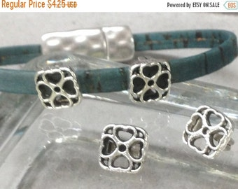On Sale NOW 25%OFF Tiny Clover Sliders For 5mm - 6mm Flat Leather Antique Silver Z1462 Qty 5