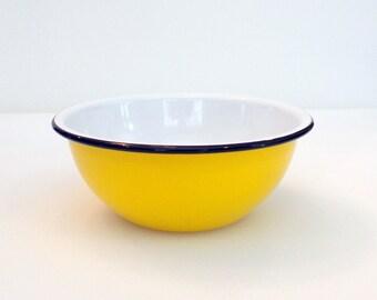 Yellow Enamelware Graniteware Bowl Yellow with Black Stripe Bowl Serving Bowl