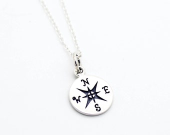 Compass .925 sterling silver necklace