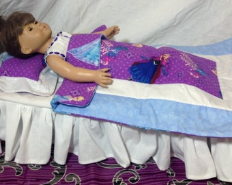 Frozen Elsa Anna Doll Quilt & Pillow Bed Set for American Girl, Baby Doll or Floppy Animal