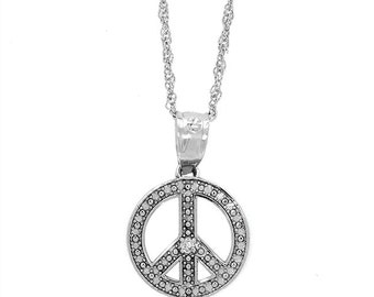 14k solid white gold peace pendant and chain with a diamond. peace pendant