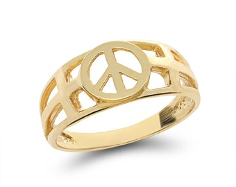 14k solid gold peace sign with cross ring. peace jewerly, religious jewelry
