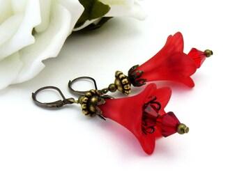 Red Christmas Earrings, Bronze and Red Flower Earrings, Christmas Jewelry, Red  Vintage Flower Earrings, Gift for Gardeners, Red Earrings