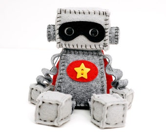 Custom Superhero Plush Robot - With Cape and Mask - Pick Initials or Star Button