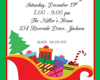 Sleigh Christmas Party | Christmas Extravaganza | Ornament Swap | Christmas Invitation | Office Party | Customize Wording | Invitation