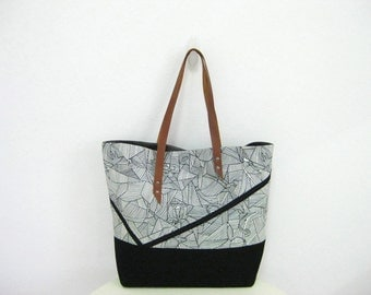 Graphic Tote Bag, Black and White Shoulder Bag with Leather Straps