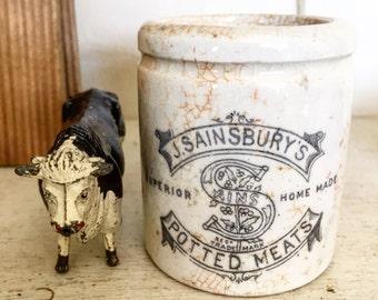 A small Sainsburys potted meat crock jar