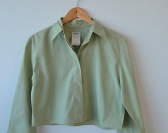 Vintage Chanel cotton shirt- cropped pale green