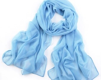 Light Blue Chiffon Scarf - Sky Blue Chiffon Scarf -PS21
