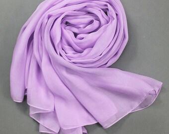 Violet Chiffon Scarf - Light Purple Puff Chiffon Scarf - 30D60