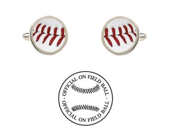 Authentic Leather Baseball Cufflinks - Made with an Official On Field Game Baseball