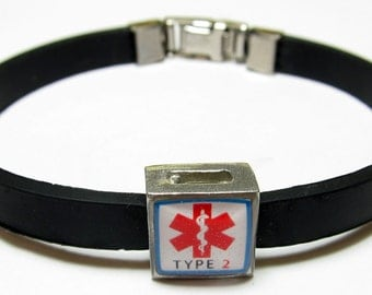 Red Diabetic Type 2 Medical Alert Link With Choice Of Colored Band Charm Bracelet