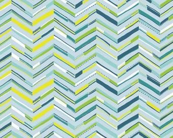 1/2 yard SUNDALAND JUNGLE  by Katy Tanis for Blend Fabrics Tenun Chevron Blue