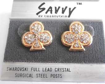 Savvy by Swarovski Post Earrings Gold Plated with Swarovski Crystals New