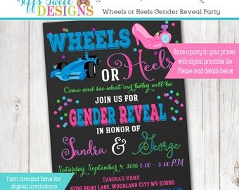 Wheels or Heels  Gender Reveal Party Invitation  - Pink and Blue - Boy or Girl -  Printable - Chalkboard Race Car