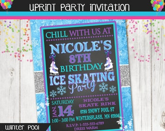 Ice Skate Invitation - Ice Skating Party - Winter - Printable - Ice Princess Snowflakes