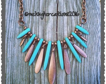Stunning Statement Necklace with Antiqued Copper and Magnesite Spikes