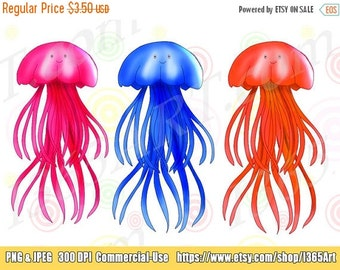 50% OFF SALE Jellyfish Clipart, Jellyfish clip art, Sea Life Clipart, Digital, Scrapbooking, Aquatic, Underwater, Sea Creatures, Instant Dow