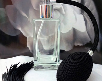 Empire Atomizer with Black Bulb and Tassel  2 oz.  Pretty Perfume Gift, Perfume Bottle, Perfume Gift for Her, Perfume Atomizer Gift