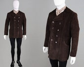 Vintage 60s LORD JOHN Carnaby Street Brown Suede Jacket 1960s Mod Coat Mens Suede Coat Double Breasted Real Suede Dark Brown Round Collar