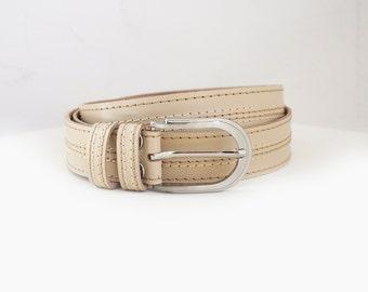 Beige leather belt, Beige belt with threads stitching, ALL SIZES