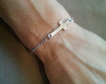 Silver Sideways Cross Charm Bracelet