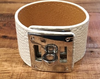 White Leather Buckle Cuff - Silver Hardware