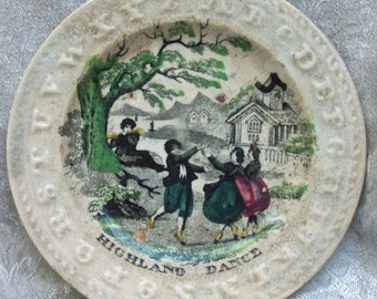 "Antique 1800'S Staffordshire Pottery Child's ABC Plate with ""HIGHLAND DANCE"" Scene"