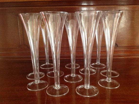 Vintage trumpet champagne flutes set of 12 flared hollow stem - Hollow stem champagne glasses ...