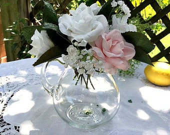 Crystal Pitcher or Flower Vase, Princess House Hand Blown Glass Pitcher, Glass Carafe 32 Oz.