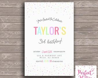 Colorful Sprinkle-- Birthday Invitation