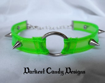 Toxic Candy Neon Vinyl Spiked O-Ring Choker, choice of UV Pink, UV Green, Blue, Purple, Blacklight Reactive, Clear, Creepy Cute Cyber Goth