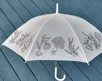 Sea shells Coral and Starfish full size white rain umbrella with hook handle for adults coastal living accessory beachy apparel