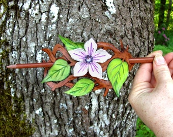 Leather Woodland Flower Vine Hairstick Barrette