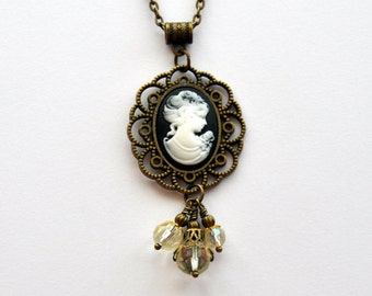 Cameo Necklace, Victorian Cameo Pendant, White Cameo pendant, Gothic Black cameo necklace, Gothic Lolita Kawaii Cameo necklace